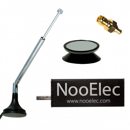 NooElec NESDR Mini 2+ Al - 0.5PPM TCXO USB RTL-SDR Receiver (RTL2832 + R820T2) w/ Antenna and Accessories, Installed in Aluminum Enclosure