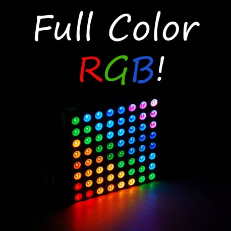 8x8 RGB LED Matrix, Large, Common Anode, Diffused Lenses