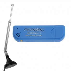 Nooelec NESDR Mini 2 USB RTL-SDR and ADS-B Receiver Set, RTL2832U and R820T2 Tuner, w/ Antenna. MCX Input. Low-Cost Software Defined Radio Compatible with Many SDR Software Packages, ESD-Safe